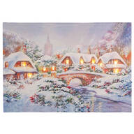Glowing Village LED Lighted Canvas