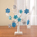 "White Wire 18"" Tree with Snowflake Hanging Ornaments"