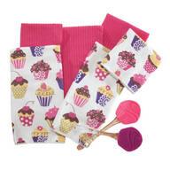 Cupcake Towel & Spatula 8-Pc. Set