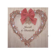 Personalized Valentine's Day Grapevine Wreath Lighted Canvas
