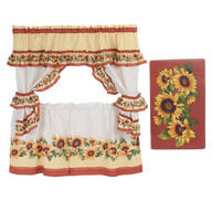 Sunflower Curtain and Anti-Fatigue Rug Set