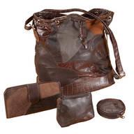 Patchwork Leather Handbag - 4-Piece Set