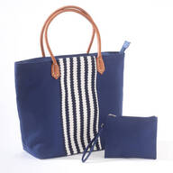 2 Piece Striped Trim Navy Bag