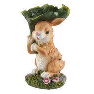 Resin Bunny with Leaf Statue