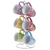 Flower Mug Set with Stand, 7 Pieces