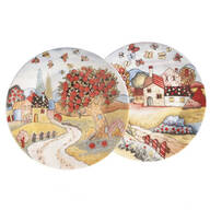 Country Folk Display Plates, Set of 2