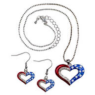 Patriotic Necklace and Earrings Value Set