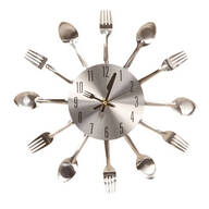 "12"" Metal Kitchen Cutlery Clock"