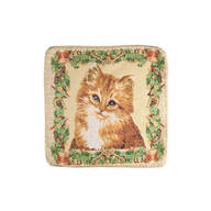 Floral Kitten Tapestry Pillow Cover