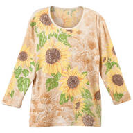 Sunflowers 3/4 Sleeve Top