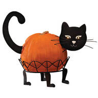 Metal Black Cat Pumpkin Holder by Maple Lane Creations™