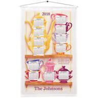Personalized Teacups on a Shelf Calendar Towel