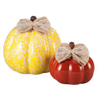 Small & Medium Ceramic Pumpkins, Set of 2