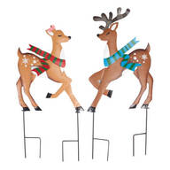 Kissing Reindeer Couple Metal Stakes by Maple Lane Creations™, Set of 2