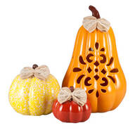 Small, Medium & Large Ceramic Pumpkins, Set of 3