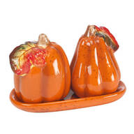 Ceramic Harvest Pumpkin Salt & Pepper Shakers with Tray