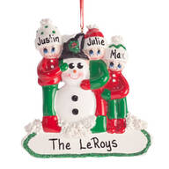 Personalized Family and Snowman Ornament