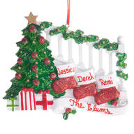 Personalized Stockings on Stairs Family Ornament