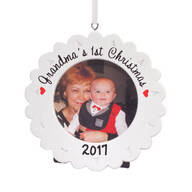 "Personalized ""Grandma's 1st Christmas"" Frame Ornament"
