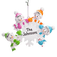 Personalized Colorful Snowmen Group Ornament