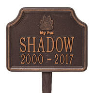 "Personalized ""My Pal"" Dog Paw Memorial Marker"