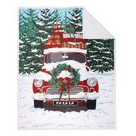 Holiday Red Car Throw with Sherpa Back
