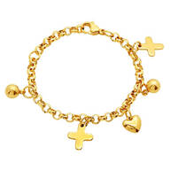 Children's Stainless Steel Ball, Cross and Heart Charm Bracelet