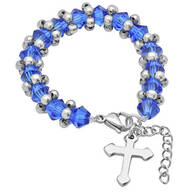 Children's Crystal Beaded Stretch Bracelet with Cross
