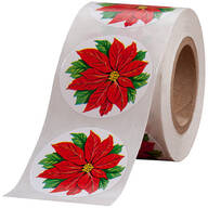 Poinsettia Envelope Seals - Roll of 250