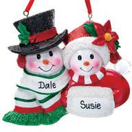 Personalized Snowmen Couple Christmas Ornament