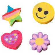 Floral & Happy Face Erasers, Pack of 36