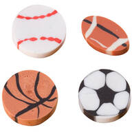 Sports Theme Erasers, Pack of 36