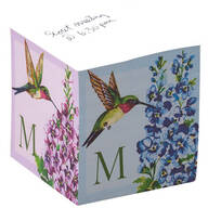 Personalized Initial Hummingbird Self Stick Note Cube