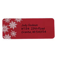 Large Print Red Snowflake Address Labels - Set of 250