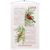 Personalized Cardinal and Fir Calendar Towel