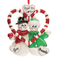 Personalized Candy Cane Snow Couple Ornament