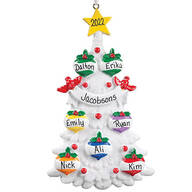 Personalized White Glitter Tree Ornament