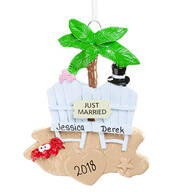 "Personalized ""Just Married"" Tropical Ornament"