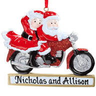 Personalized Cruisin' Claus Couple Ornament