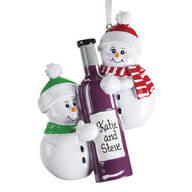 Personalized Snowmen with Wine Bottle Ornament
