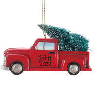 Personalized Red Truck with Tree Ornament