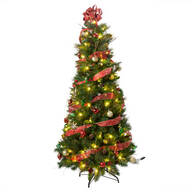 6-Foot Easy-Up Decorated Glitter Pine Tree by Northwoods™
