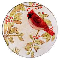 Glass Cardinal Serving Platter