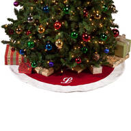 "56"" Monogrammed Red Velvet Tree Skirt"