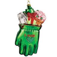 Glass I Love Gardening Glove Ornament