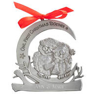 "Personalized ""Owl First Christmas Together"" Pewter Ornament"
