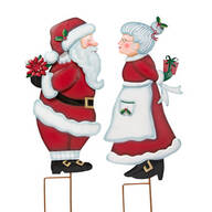 Kissing Santa & Mrs. Claus Metal Stakes by Maple Lane Creations™, Set of 2