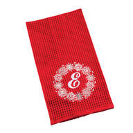 Monogrammed Snowflake Wreath Kitchen Towel
