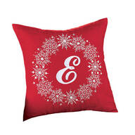 Monogrammed Snowflake Wreath Throw Pillow