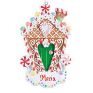 Personalized Glitter Gingerbread House Ornament